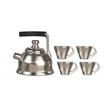 Puppen Haus Chrom Wasserkocher & Becher Tasse Set Miniatur Küche Zubehör 01:12 Maßstab