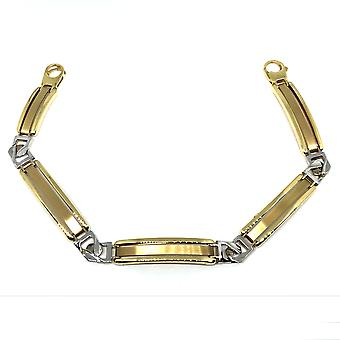 """14k Yellow And White Gold Fancy Link Mens Bracelet, 8.25"""""""