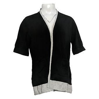 Isaac Mizrahi Live! Women's Top Sleeve Button-Back Knit Black A378537