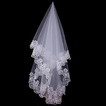 Cathedral Wedding Veils Short One Layer Bridal Veil Appliques Lace Edge No Comb