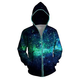 Fun 3d Printing Men's Hoodie Green Starry Sky Digital Printing Zipper Photoelectric Sweater