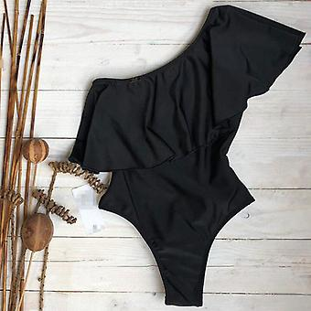 Sexy One-shoulder Ruffle One-piece Swimsuit