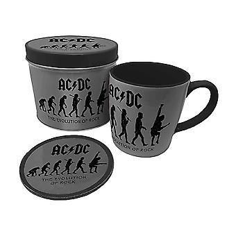 AC/DC Utvecklingen av rockmugg och underlägg i presentburk