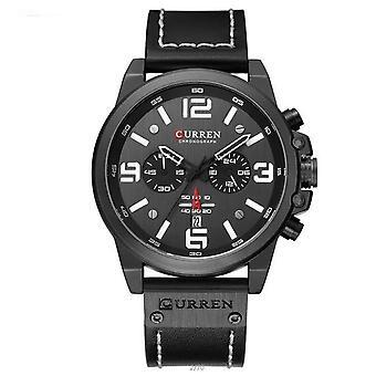 Sotilaallinen vedenpitävä nahka urheilu kvartsi kellot, kronografi, men's kello