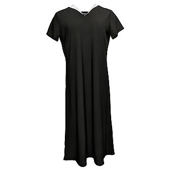 Antthony vestido doble V-cuello sólido midi manga corta negro 695066
