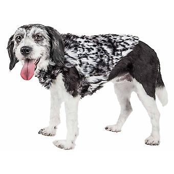 Haustier Leben Luxe 'Paw Dropping ' Designer grau-Scale Tiger Muster Nerz Pelz Hund Mantel Jacke, schwarz und grau - X-Small