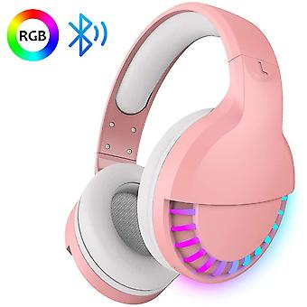 Over-Ear Bluetooth draadloze hoofdtelefoon, 5.1-kanaals hifi-stereo, paardenrace RGB LED-achtergrondverlichting, 1000 mAh oplaadbare lichtgewicht gamingheadset met microfoon, voor pc / Ipad / smartphone-roze