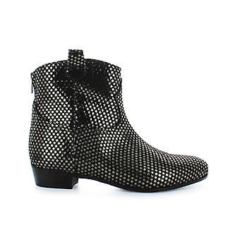 Stephen Good Gunmetal Leather With Stars Ankle Boots