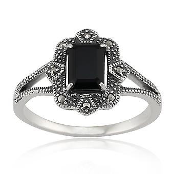 Sterling Silver Art Deco 1.20ct Black Spinel & Marcasite Ring