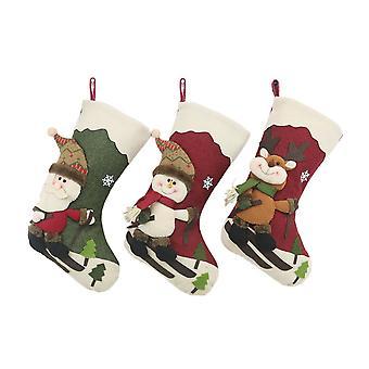 3PCS 17inch Christmas Stockings Santa Claus Hanging Ornament