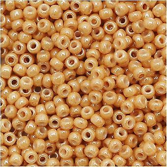 Toho Round Seed Beads 11/0 123D 'Opaque Lustered Dark Beige' 8 Gram Tube