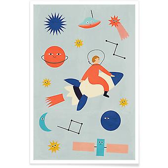 JUNIQE Print - Przyjaciele w kosmosie - Plakat dla dzieci w kolorach