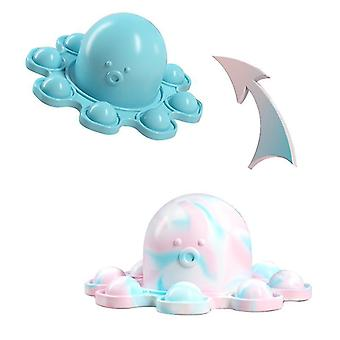 Blue silicone reversible octopus double-sided flip fidget toys cai1472