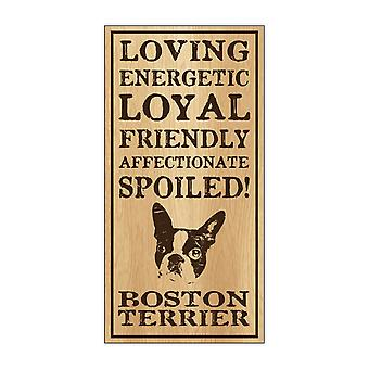 """שלט, ווד, בוסטון טרייר מפונק, 5"""" X 10"""""""