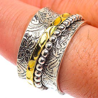 Meditation Spinner Ring Size 9.5 (925 Sterling Silver)  - Handmade Boho Vintage Jewelry RING66451