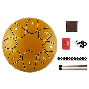 Tongue drum 6 inch steel tongue drum set 8 tune hand drum pad tank sticks carrying bag percussion instruments accessories