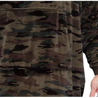 المتضخم كسول طباعة الدافئة هوديي الصوف سحب مع جيب للبالغين (كامو)