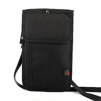 Multifunctional travel passport document driver's license storage bag(Black)