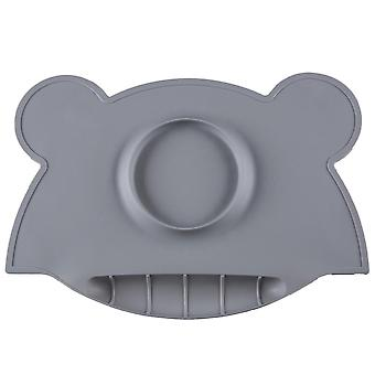 Portable baby insulated silicone dinner plate, waterproof placemat with bowl(Gray)
