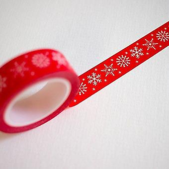 Washi Tape Red with White Snowflake 10m Christmas Craft Tape