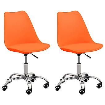 vidaXL تناول الطعام الكراسي 2 PCS. البرتقال الجلد الاصطناعي