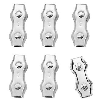 6 Pieces M5 Duplex Stainless Steel Clamps Rope Connector Stainless Steel Wire Rope Clamp
