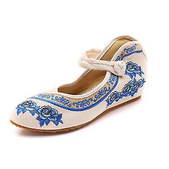 Women's Chinese Retro Ethnic Embroidery Low Heel Flat Elevator Cheongsam Dress Shoes Pointed Roses