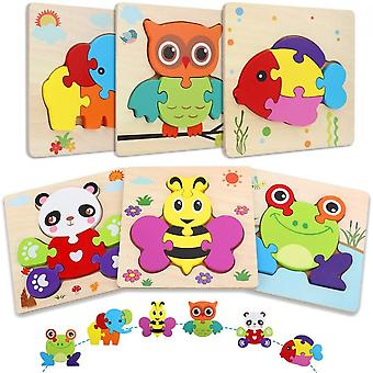 Wooden Puzzles For Toddlers, 6 Pcs Animal Jigsaw Puzzles For Children