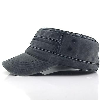 Casual Katoen Soldier Denim Sun Hat Visor Solid Flat (Zwart)