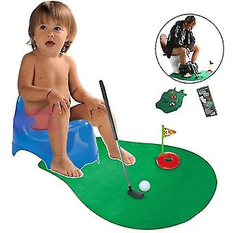 Toilet Mini Golf Potty Putter Bathroom Game Novelty Putting Gift Toy Trainer