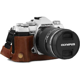 Ever Ready Echtleder Kamera-Halbtasche mit Trageriemen kompatibel mit Olympus OM-D E-M5 Mark III