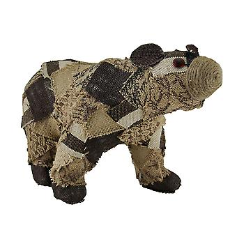 Patches the Recycled Burlap Bear Decorative Statue