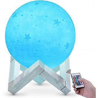 Caraele 3d Moon Lamp 20cm 16 Colors, Usb Rechargeable Touchscreen Moon Night Light Rgb Star Patterns For Bedroom Living Room Cafe Birthday Christmas G