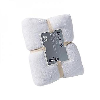 Bath towels washcloths serviette de bain pour dames en tissu microfibre 150*75cm-white