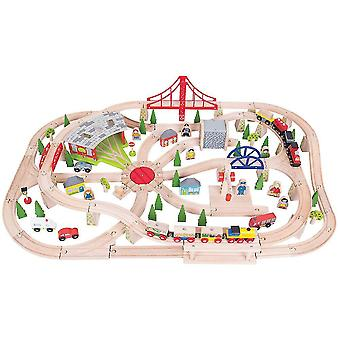 Toy trains train sets bigjigs rail wooden freight train set with storage box - 130 pieces