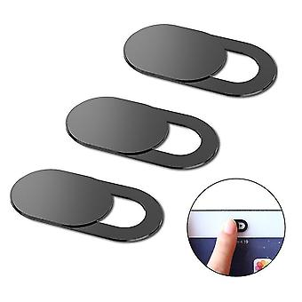 3-osainen joukko magneettista web-kameran suljinta liukusäädin yksityisyyden suojaamiseksi (musta)