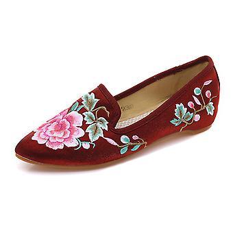Women's Chinese Retro Ethnic Embroidery Low Heel Flat Elevator Cheongsam Dress Shoes Ripples