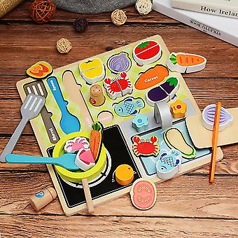 Children's Wooden Kitchen Toys Pretend To Play With Puzzles, Cut Fruits, Vegetables, Animal Fooda