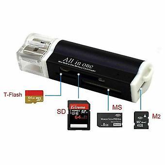 Lecteur de carte mémoire usb 2.0 tout-en-un pour : Micro-sd Sd Tf Sdhc M2 Mmc - Noir