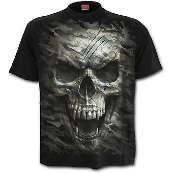 スパイラル - 迷彩頭蓋骨 - メン&アポス;s黒半袖Tシャツ