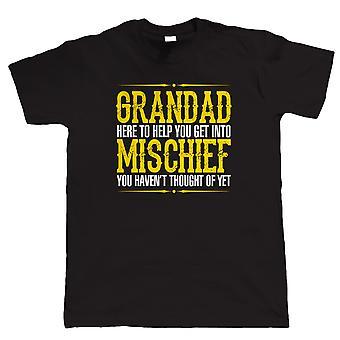 Grandad Mischief Mens T-Shirt Engraçada - Presente do Dia dos Pais de Aniversário para o avô