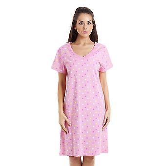 Camille wielokolorowe Star wydruku Light Pink bawełny Koszula nocna