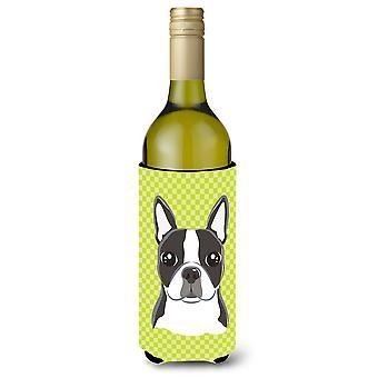 Geruite Boston Terriër wijnfles drank isolator Hugger Lime