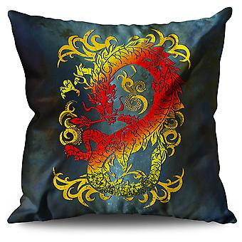 Fantasy Dragon Mystical Linen Cushion 30cm x 30cm | Wellcoda