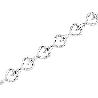 Sterling Silver Diamond Fahion Heart Bracelet 1/12 Carat (ctw G-H I2-I3)