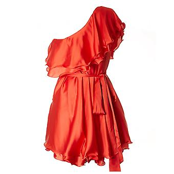 永遠にユニークなサテン ワンショルダー ショート ドレス