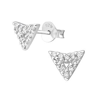 Arrow - 925 Sterling Silver Cubic Zirconia Ear Studs - W36644x