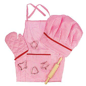 Bigjigs Toys Pink Chef's Dress Up Baking Accessories Kids Child Pretend Play