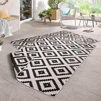 En tournant le tapis noir de Malte crème in - & outdoor