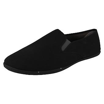 Mens Spot On Flat Twin Gusset Casual Pumps